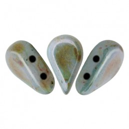 Amos® par Puca® lasihelmi 5 x 8 mm, opaakki keraaminen sininen/vihreä