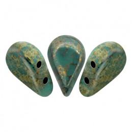 Amos® par Puca® lasihelmi 5 x 8 mm, opaakki marmoroitu pronssinen vihreänturkoosi