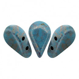 Amos® par Puca® lasihelmi 5 x 8 mm, opaakki marmoroitu pronssinen aqua