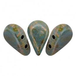 Amos® par Puca® lasihelmi 5 x 8 mm, opaakki marmoroitu tummankultainen aqua