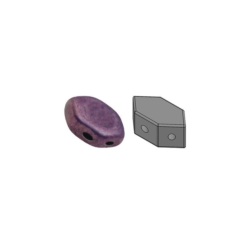 Paros® par Puca® lasihelmi 4 x 7 mm, opaakki keraaminen ametisti/kulta