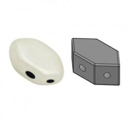 Paros® par Puca® lasihelmi 4 x 7 mm, opaakki keraaminen valkoinen
