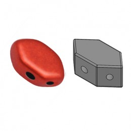 Paros® par Puca® lasihelmi 4 x 7 mm, metallinen matta punainen