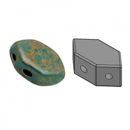 Paros® par Puca® lasihelmi 4 x 7 mm, opaakki marmoroitu pronssinen vihreänturkoosi