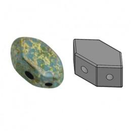Paros® par Puca® lasihelmi 4 x 7 mm, opaakki marmoroitu tummankultainen aqua
