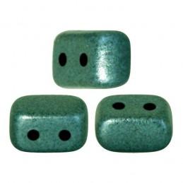 Ios® par Puca® lasihelmi 5,5 x 2,5 mm, metallinen matta vihreänturkoosi