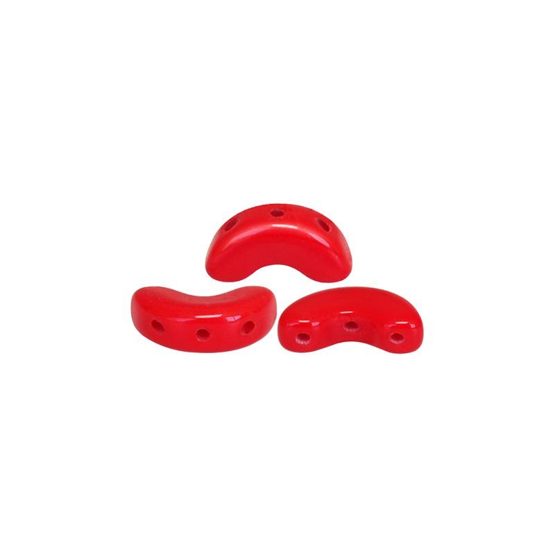 Arcos® par Puca® lasihelmi 5 x 10 mm, opaakki korallinpunainen