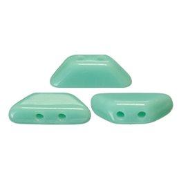 Tinos® par Puca® lasihelmi 4 x 10 mm, opaakki vihreänturkoosi