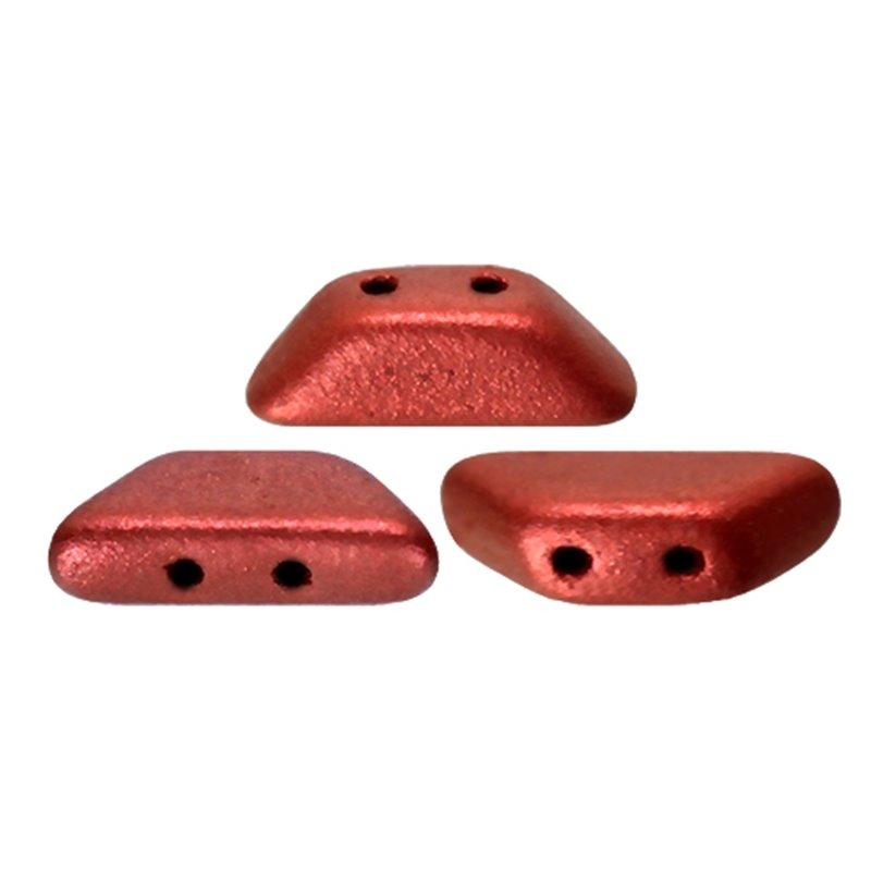 Tinos® par Puca® lasihelmi 4 x 10 mm, metallinen matta punainen