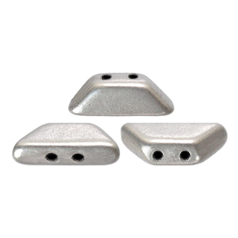 Tinos® par Puca® lasihelmi 4 x 10 mm, matta alumiini hopea