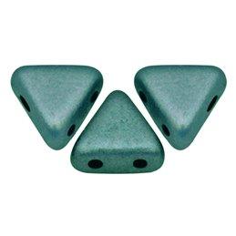 Khéops® par Puca® lasihelmi 6 x 6 mm, metallinen matta vihreänturkoosi