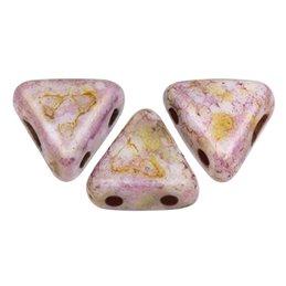 Khéops® par Puca® lasihelmi 6 x 6 mm, opaakki keraaminen roosa/kulta