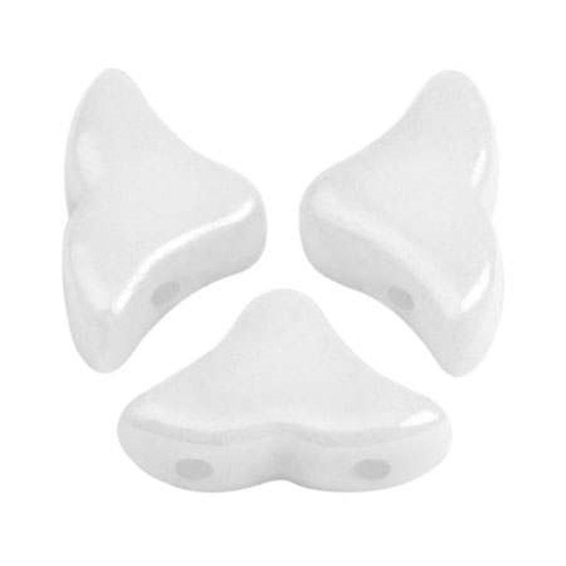 Hélios® par Puca® lasihelmi 6 x 10 mm, opaakki valkoinen