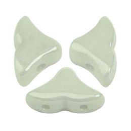 Hélios® par Puca® lasihelmi 6 x 10 mm, opaakki keraaminen vaaleanvihreä