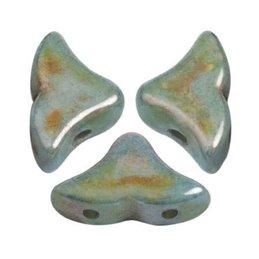 Hélios® par Puca® lasihelmi 6 x 10 mm, opaakki keraamine nsininen/vihreä