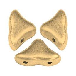 Hélios® par Puca® lasihelmi 6 x 10 mm, matta vaalea kulta