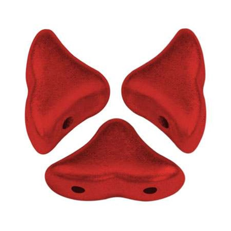 Hélios® par Puca® lasihelmi 6 x 10 mm, metallinen matta punainen