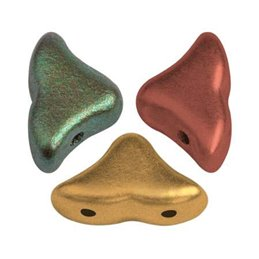 Hélios® par Puca® lasihelmi 6 x 10 mm, metallinen kultainen iris