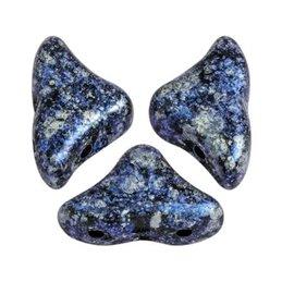 Hélios® par Puca® lasihelmi 6 x 10 mm, sininen tweedy