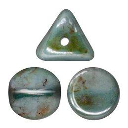 Ilos® par Puca® lasihelmi 5  x 5 mm, opaakki keraaminen sininen/vihreä