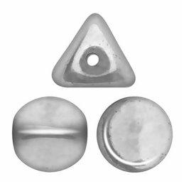 Ilos® par Puca® lasihelmi 5  x 5 mm, matta alumiini hopea