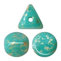 Ilos® par Puca® lasihelmi 5  x 5 mm, opaakki vihreänturkoosi kultaroiske