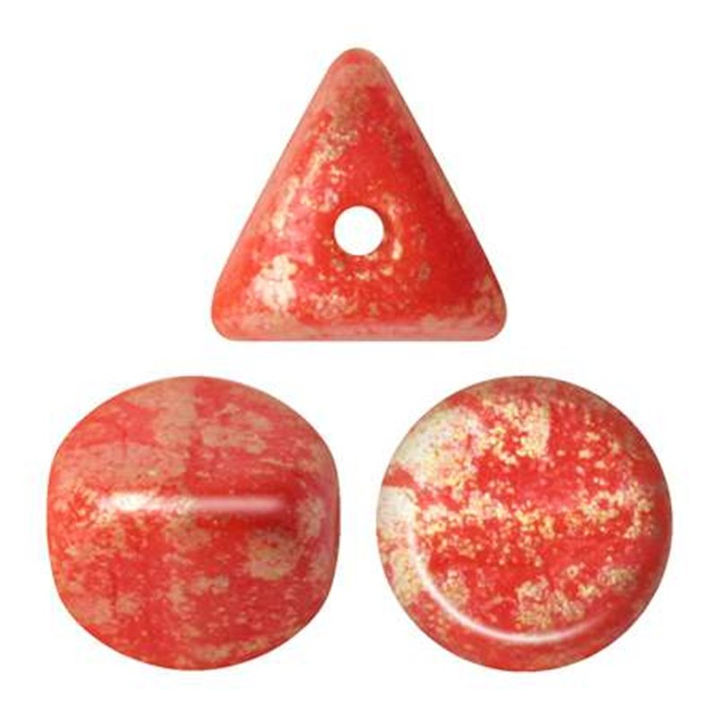 Ilos® par Puca® lasihelmi 5  x 5 mm, opaakki vaalea korallinpunainen kultaroiske