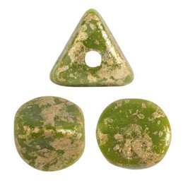 Ilos® par Puca® lasihelmi 5  x 5 mm, opaakki vihreä kultaroiske
