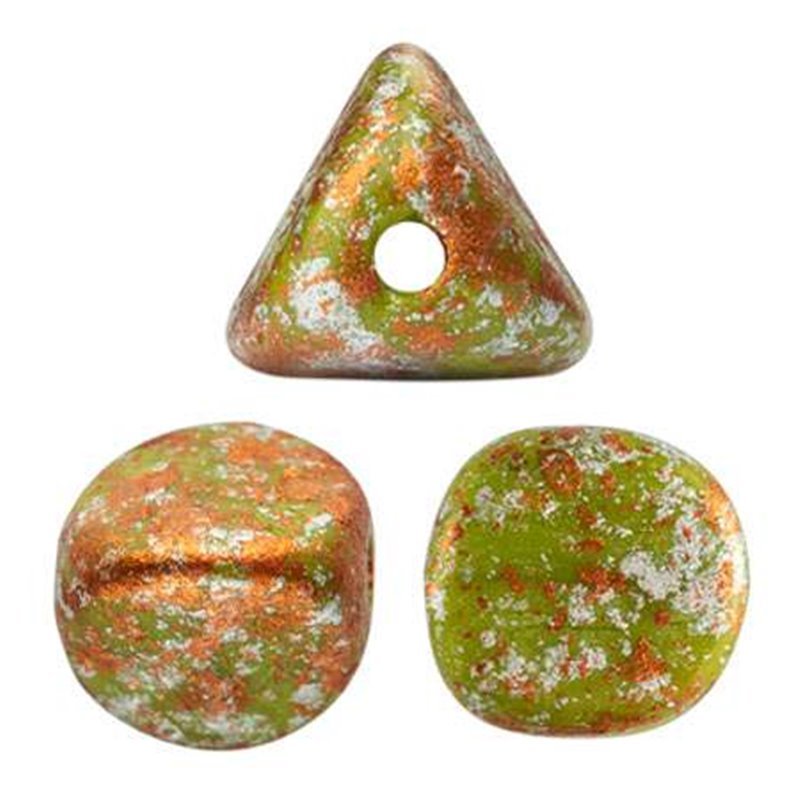 Ilos® par Puca® lasihelmi 5  x 5 mm, opaakki vihreä tweedy
