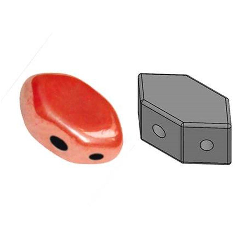 Paros® par Puca® lasihelmi 4 x 7 mm, opaakki vaalea kiiltävä korallinpunainen