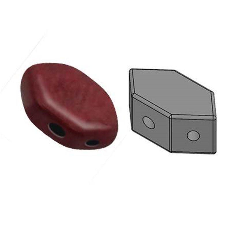 Paros® par Puca® lasihelmi 4 x 7 mm, opaakki vaalea korallinpunainen burgundi