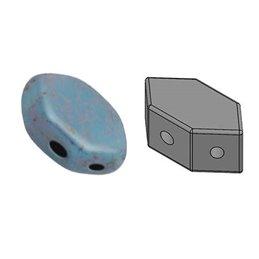 Paros® par Puca® lasihelmi 4 x 7 mm, opaakki marmoroitu pronssinen aqua