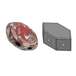 Paros® par Puca® lasihelmi 4 x 7 mm, opaakki vaalea korallinpunainen leppäkerttu