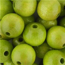Preciosa pyöreä lakattu puuhelmi 12 mm, limenvihreä
