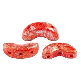 Arcos® par Puca® lasihelmi 5 x 10 mm, opaakki vaalea koralli punainen tweedy