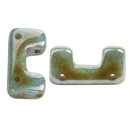 Télos® par Puca® lasihelmi 12 x 4 mm, opaakki keraaminen sininen/vihreä