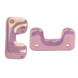 Télos® par Puca® lasihelmi 12 x 4 mm, opaakki keraaminen violetti/kulta