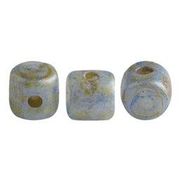 Minos® par Puca® lasihelmi 2,5 x 3 mm, opaakki laikukas sininen/vihreä