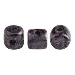 Minos® par Puca® lasihelmi 2,5 x 3 mm, metallinen matta laikukas violetti