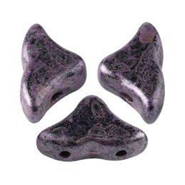 Hélios® par Puca® lasihelmi 6 x 10 mm, metallinen matta laikukas violetti