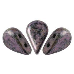 Amos® par Puca® lasihelmi 5 x 8 mm, metallinen matta laikukas violetti