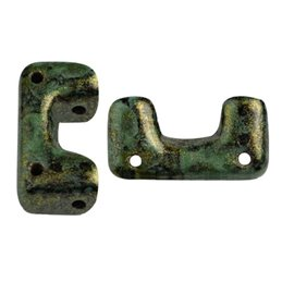Télos® par Puca® lasihelmi 12 x 4 mm, metallinen matta laikukas vihreä