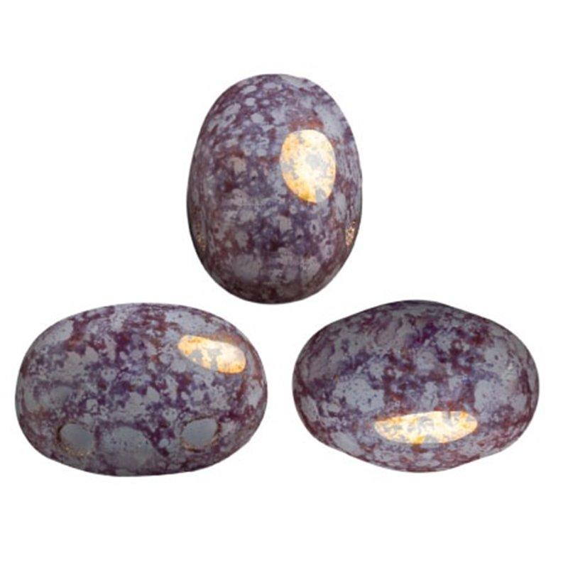 Samos® par Puca® lasihelmi 5 x 7 mm, opaakki marmoroitu pronssinen  vaalea aqua