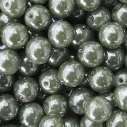 Tsekkiläinen pyöreä helmiäislasihelmi 6 mm, tumma oliivi