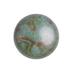 Cabochons par Puca® lasikapussi 18 mm, opaakki keraaminen laikukas sininen/vihreä