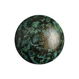 Cabochons par Puca® lasikapussi 18 mm, metallinen matta laikukas vihreä