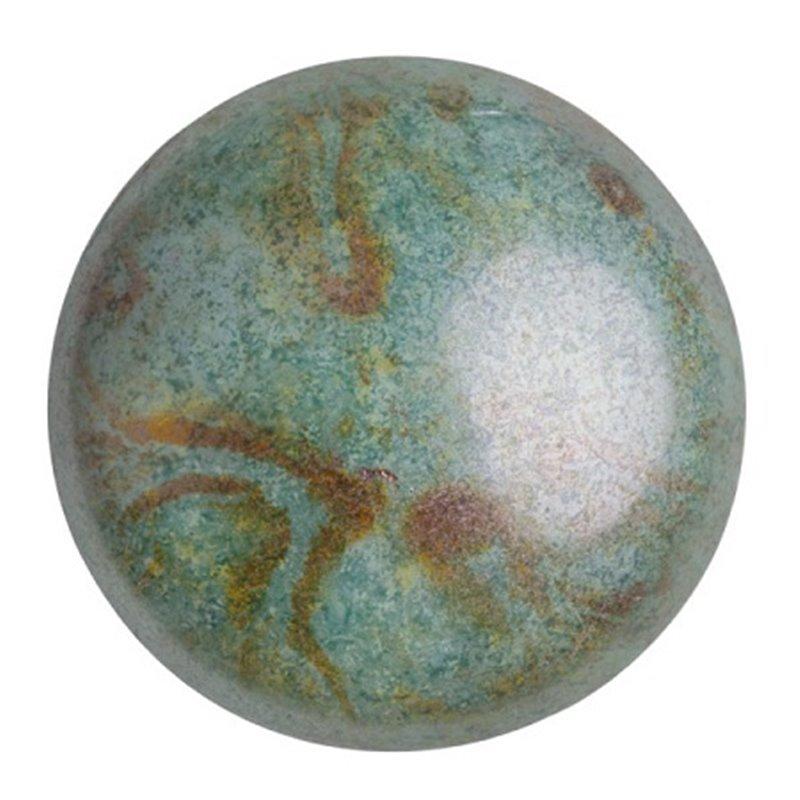 Cabochons par Puca® lasikapussi 25 mm, opaakki keraaminen sininen/vihreä