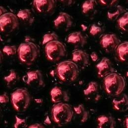 Tsekkiläinen pyöreä helmiäislasihelmi 6 mm, burgundinpunainen