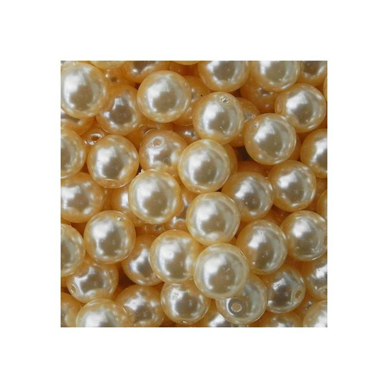 Tsekkiläinen pyöreä helmiäislasihelmi 6 mm, vanilja