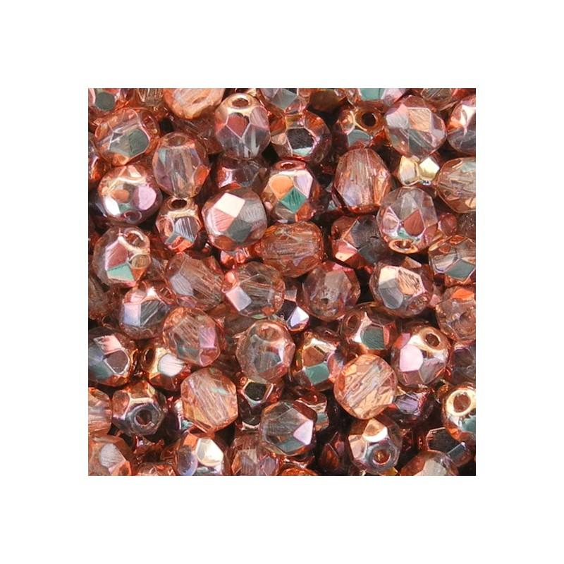 Tsekkiläinen fasettihiottu pyöreä lasihelmi 4 mm, kirkas kultainen apollo